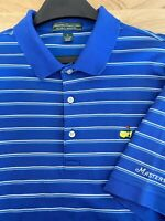 Masters Collection Men's Large 100% Pima Cotton Golf Polo Augusta Striped Blue