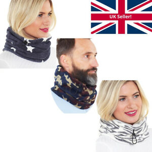 Mens Womens Unisex Teens Fleece Neck Warmer Snood Scarf Cosy Soft Warm Winter