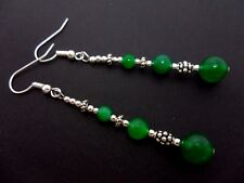 A PAIR TIBETAN SILVER GREEN JADE BEAD  EXTRA LONG DANGLY EARRINGS. NEW.