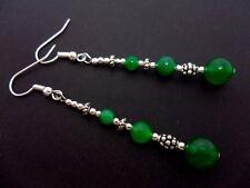Un Par Plata Tibetana Verde Jade Grano Extra Larga Dangly Pendientes. nuevo.