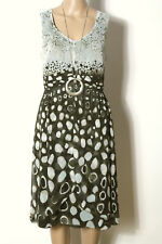 Betty Barclay Kleid Gr. 40 braun-grün-grau ärmellos Empire Chiffon Muster Kleid