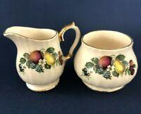 vintage Sadler #3582 ceramic creamer & sugar bowl England c.1937+ fruit