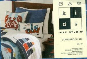 """New Max Studio Kids Blue & Black Quilted Standard Sham 21"""" x 27"""" NIP"""