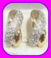 HEAVY VINTAGE 8.3G SOLID 9CT GOLD .50CT GENUINE DIAMOND ½ HOOP ENGLISH EARRINGS