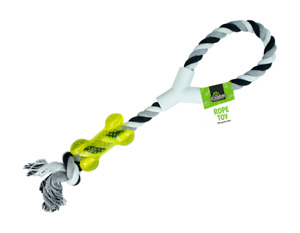Large Strong Pull Rope Toy With Chew Bone Tug Toy Fetch Puppy Dog