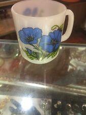 Vintage Glassbake Blue Morning Glory Mug Cup B Milk Glass Coffee