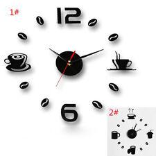 moderne Grand DIY Horloge Murale 3D Noir Numéro Autocollant Maison Bureau