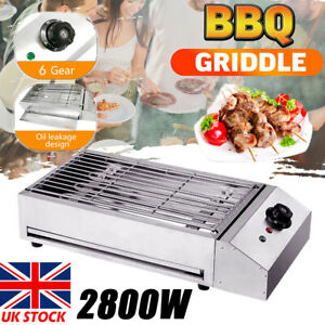 2800W Electric Grill BBQ Barbecue Countertop Smokeless Camping Cooking Indoor UK