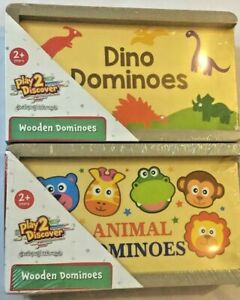Animals and Wooden Dominoes CREATIVE Children's Game Play With Wooden Dominoes