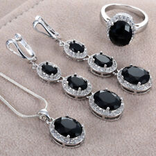 Chic 925 Silver Oval Cut Black Topaz Rings Necklace Pendant Earrings Set Jewelry