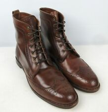 ALLEN EDMONDS Dalton Walnut SHELL CORDOVAN Dress Boots Wingtip Brown 12D RARE