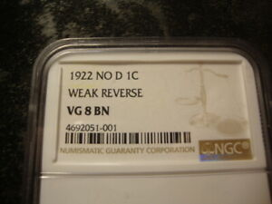 1922 NO D NGC VG 8  Brown Lincoln Head Cent Weak Reverse SLABZ