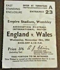 More details for england v wales international match ticket wednesday 10/11/1954 wembley stadium.