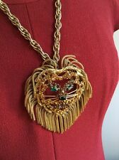 Vintage Goldtone Rhinestone Big Lion Head with Tassel Pendant Necklace (Y74)