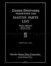 1914-1933 Dodge Car Parts Book 1927 1928 1929 1930 1931 1932 Master Catalog