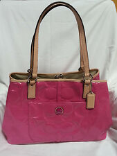 COACH Signature Embossed Patent Leather  Frame Handbag in Mulberry-NWT-SRP: $458
