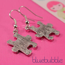 FUNKY JIGSAW EARRINGS CUTE VINTAGE PUZZLE GAME QUIRKY PENDANT RETRO KITSCH CHARM