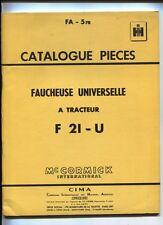 FA-5  FR  : Mc Cormick ;catalogue pièces faucheuse universelle   janvier 1961