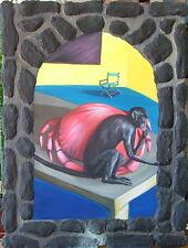 CHERYL LAEMMLE INSTALLATION ARTIST  1980 MONKEY w CRAB SURREAL 3-D MIXED MEDIA