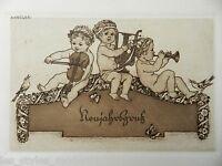 Albert KRÜGER Berlin Jugendstil Radierung ° Neujahrsgruß Karte ° Postkarte