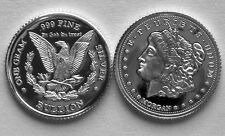 (10) 1 GRAM 0.999+ PURE SILVER ROUNDS MADE IN THE MORGAN DOLLAR DESIGN (2p5)