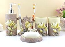 5Pcs Nature Magnolia Resin Bathroom Accessories Sets  Soap Holder Toothbrush Cup