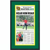Framed The Augusta Chronicle Tiger Woods 2019 Masters Newspaper 17x27 Photo