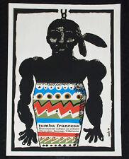 "1979 Original Cuban movie Poster""French Tomb"" African.Colorful drum.Tambor art"