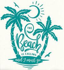 Wandtattoo Wandaufkleber Flur Wohnzimmer The Beach is Calling Strand Urlaub