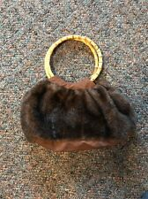 Bamboo Handled Faux Fur Purse