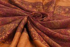 Vintage Indian Saree Abstract Printed 100% Silk Multicolor Craft Fabric 5Yard