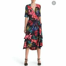 Maison Tara Black Floral Wrap Ruffle Midi Dress 6 Pocket Stretch Hi-Low NWT$159