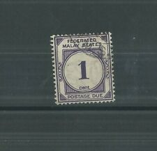 FEDERATED MALAY STATES 1924 1c POSTAGE DUE FINE USED