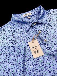 Peter Millar Summer Comfort Performance Polo Marlin Martini Print Shirt 2XL