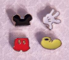 Set of 4 Mickey Mouse Themed Floating Locket Charms - Silver-tone - NEW