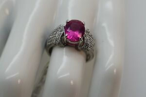 CAS .925 Sterling Silver Oval Dark pink CZ Ring Pave Set Clear - Size 7