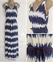 NEW EX F&F BLUE WHITE TIE DYED TEXTURED MAXI DRESS SIZE 8 - 20
