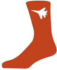 High Quality Orange Socks With a White Fighter Plane, Lovely Birthday Gift