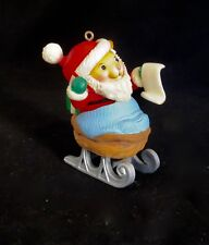 AVON Ornament Santa Mouse in Walnut Sleigh Checking His List  Vintage 1983