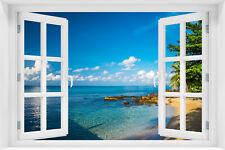 3D Wandillusion Wandbild FOTOTAPETE Fensterblick Tropical Strand Meer  -  P-60