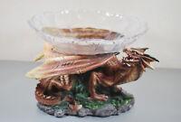 Drache Braun mit Schale Dragon Fantasy Figur  Fairy Mystik Gothic