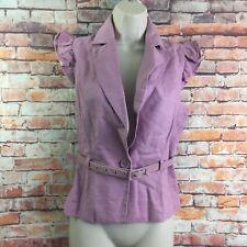 Rue 21 Women Purple Size Medium Belted Button Front Blazer Blouse Top S/S