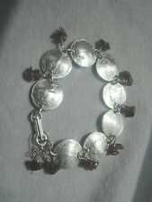 Silver Mercury dime bracelet with garnets~nicely domed-free earrings