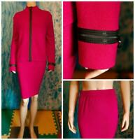 ST. JOHN Collection Knits Pink Jacket Skirt L 14 12 2pc Suit Black Trim Sequined