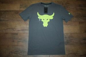 Under Armour Men's Project Rock Brahma Bull T-Shirt 1733 Size S (Pitch Gray) NWT