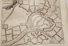 PLAN DE LA VILLE DE TERMONDE GRAVURE 1743 BELGIQUE OLD ETCHING PRINT R557