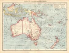 1907  LARGE ANTIQUE MAP - AUSTRALASIA : INDUSTRIES AND COMMUNICATIONS