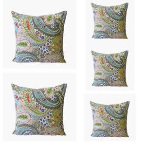 "5Pcs. Set Of 22X22"" Sofa Cushion Covers Kantha Square Beige Multi Pillow Covers"
