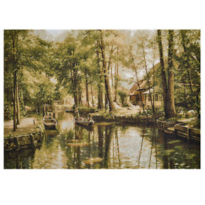 Quiet Backwater Woven Gobelin Tapestry Wall Art. 28x39""