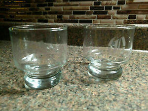 """2 Monogram Initial """"O"""" Etched Crystal Clear Glass Rock Glass Barware Low"""